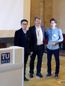Georg Gartner, ICA past president, with Xingyu Zheng and Omid Reza Abbasi
